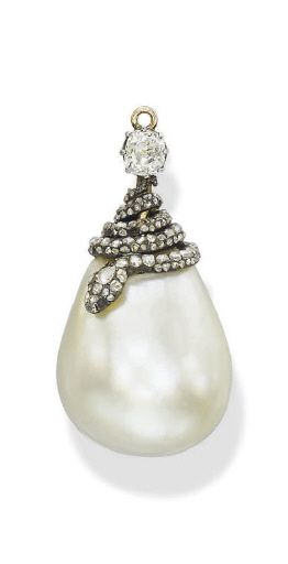A SUPERB ANTIQUE NATURAL PEARL AND DIAMOND PENDANT, BY CHAUMET Set with a natural drop pearl, weighing 55.62 carats, or 222.5 grains, to the rose-cut diamond snake cap, circa 1895, 24.45-18.07 x 19.80 cm [Sold for 591 thousand USD]