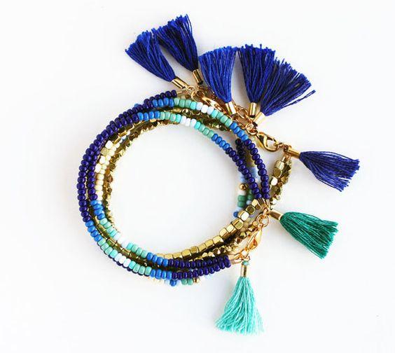 Single Multicolor Beaded Friendship Bracelet with by feltlikepaper