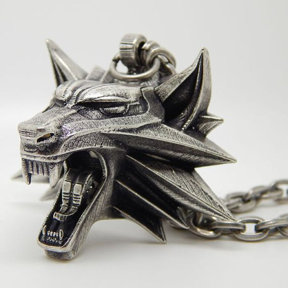 The Witcher medallion of wolf head for necklace from geralt of rivia the witcher game Silver plated school epic on Etsy, $109.47