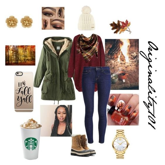 """""""Falling In love with FALL!!!!! """" by originality101 on Polyvore featuring Levi's, Peach Couture, Barts, SOREL, Anne Klein, Casetify, Movado and Miriam Haskell"""