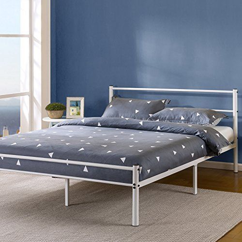 Zinus 12 Inch White Metal Platform Bed Frame With Headboard And