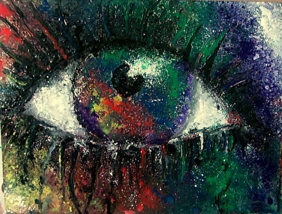 'Psychedelic Eye' Psychedelic Graffiti Art  Acrylic and Metallic Paint on Board in 30 x 20 cm Frame By Helen Leigh.