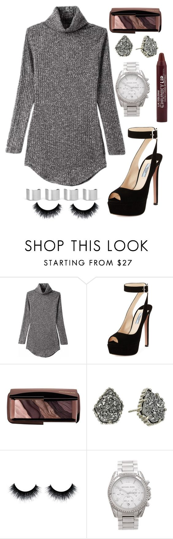 """""""Sexy sweater dress"""" by mary-elizabeth-1998 ❤ liked on Polyvore featuring Prada, Hourglass Cosmetics, Kendra Scott, Michael Kors and Maison Margiela"""