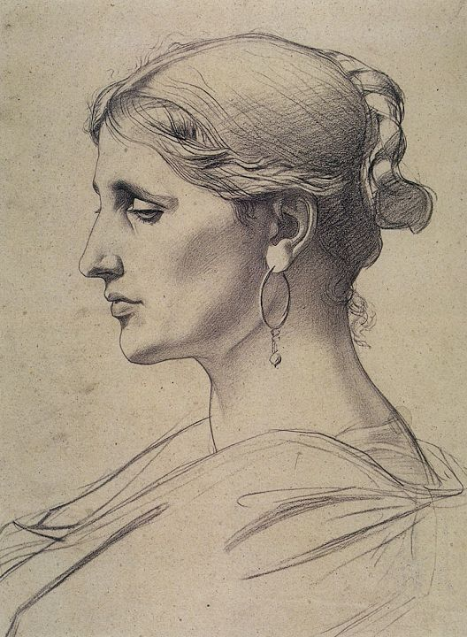Plate II, 23. Adolphe-William Bouguereau (1825-1905), A Roman Woman, study. (Tête de femme romaine [étude].) Whereabouts unknown. praxis   Old Master Drawing Bargue-Gérôme Drawing Course II