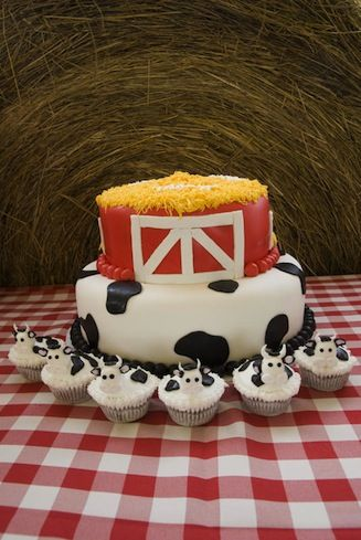 """With a """"Cookies and Cows"""" themed party thrown on her farm full of live animals, Macy celebrated her second birthday. Her loving aunt, Hannah, planned the festivities. I especially liked the hand-made signs, cow cupcakes, and stick horses that adorned the table."""