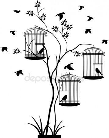 Ilustração voando aves com um amor para o pássaro na gaiola