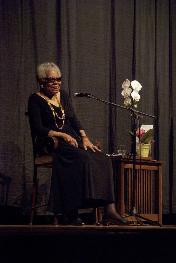 "Maya Angelou called on the students in the room to keep learning so they could tear down ""walls of ignorance."" ""The truth is,"" she said, ""human beings are more alike than we are unalike. Let them know this is their world, let them know in this institution of higher learning, to rid themselves of illusions of ignorance.""  Maya Angelou (1928-2014) during her fourth visit in 2011 at the University of Redlands."