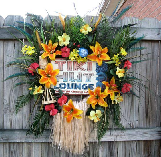 Inspiration Photo Tiki Hut: Tiki Island Tropical Luau Wreath, HUGE, Hibiscus, Tiki Hut