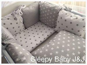 Grey Star Crib Bedding Sleepy Baby J And White