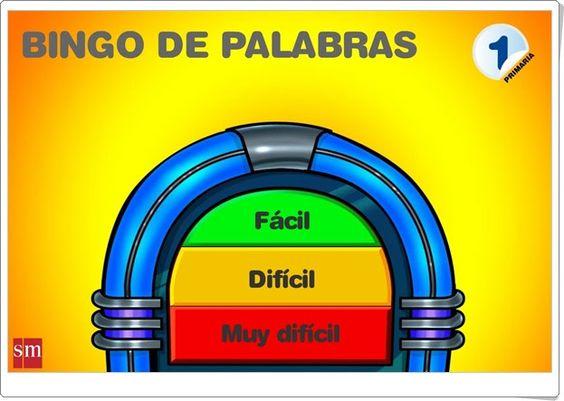 Bingo de palabras para 1º de Primaria (Editorial S.M.):