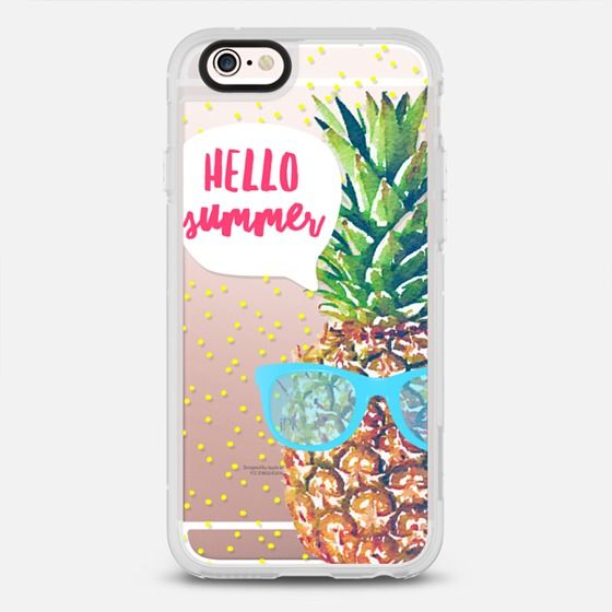 Hello Summer Watercolor Pineapple - protective iPhone 6 phone case in Clear and Clear by Jande Laulu #food | @casetify