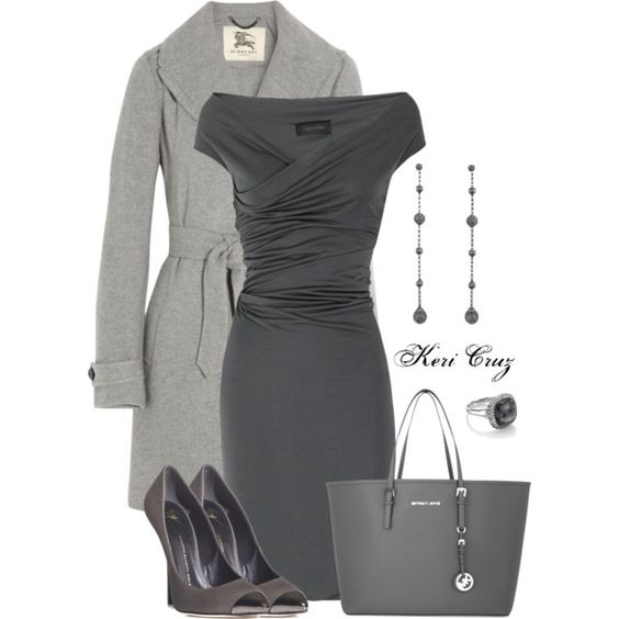 Classy Outfit: Gray Dress, Grey Outfit, Professional Outfit, The Dress, Grey Dress Outfit, Work Outfit, Business Professional Dress, Classy Outfits, Grey Dresses
