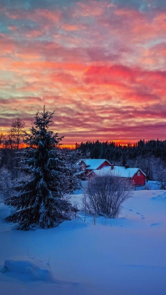 Wallpaper Красивый зимний закат. Пейзаж, Сумерки, Закат, Деревья, Лес, Дом, Небо. Nature | PicsFab.com - Desktop Wallpapers: