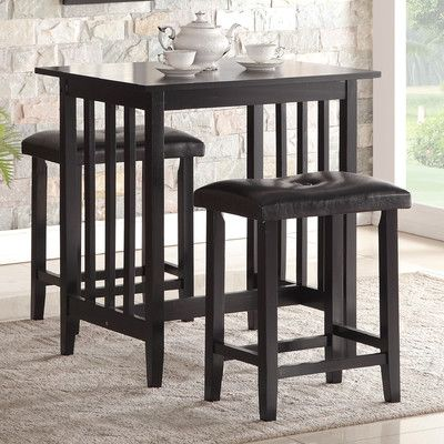 Roundhill Furniture 3 Piece Counter Height Pub Table Set & Reviews | Wayfair