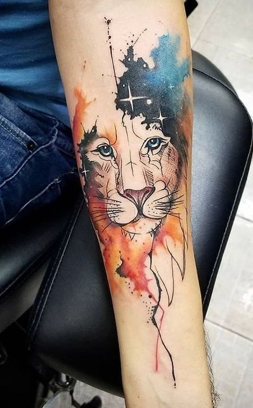 Pin By J P On Tattoos Watercolor Lion Tattoo Watercolor Lion