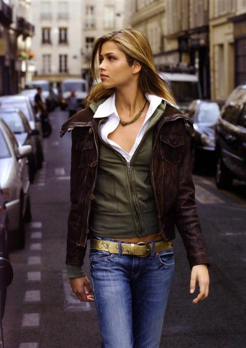 Brown Leather Jacket - Green Hoodie - White Blouse - Jeans - Belt
