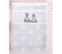 Waschhandschuh Vintage  Waschhandschuh, 15 x 21 cm, 100 % Baumwolle, mit eingewebtem Aidafeld (4 cm hoch, 25 Stiche, 5,4 Stiche/cm) zum Besticken Farbe: GRAU #Kreuzstich Kreativ