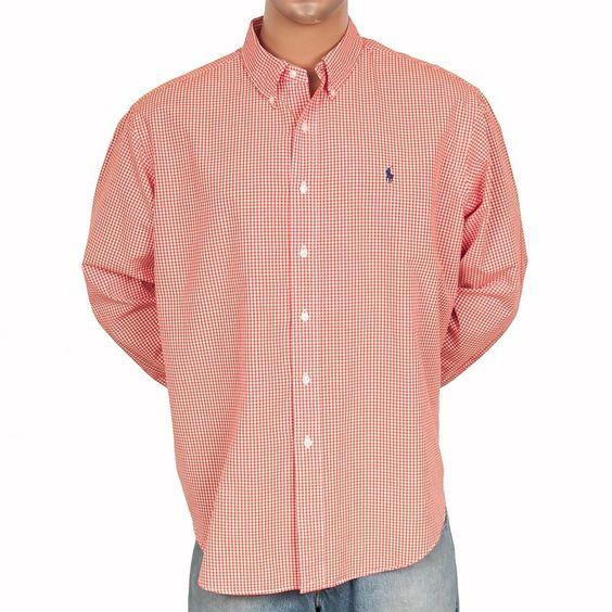 XXL 2XL Ralph Lauren Gingham Plaid Shirt LS Orange Pony Classic Fit Cotton Mens #SomeLikeItUsed