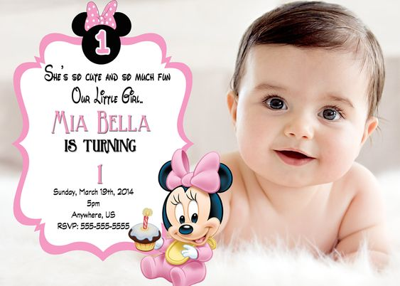 Baby Minnie Mouse 1st Birthday Invitation | Couple maternity, Pic ...