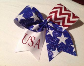 Red. White and Blue Cheer Bow