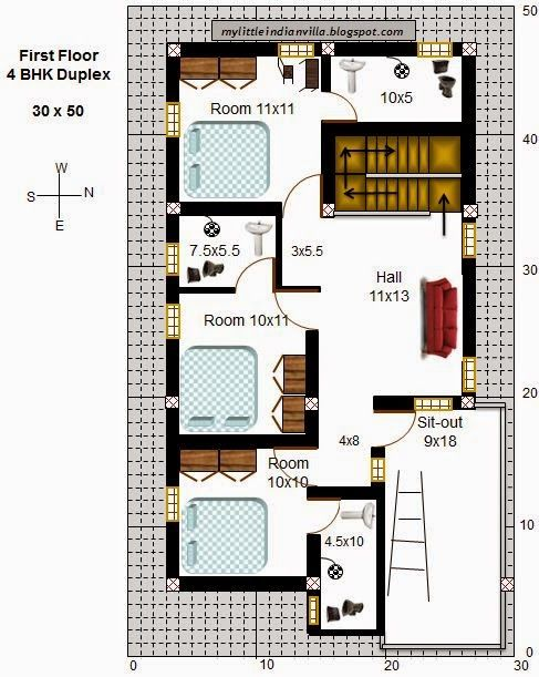 My Little Indian Villa 59 R52 4bhk Duplex In 30x50 East Facing Requested Plan 30x50 House Plans Duplex House Plans House Plans