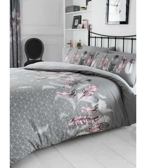 Geometric Feathers Single Duvet Cover And Pillowcase Set Grey Duvet Cover Sets Single Duvet Cover Geometric Duvet Cover
