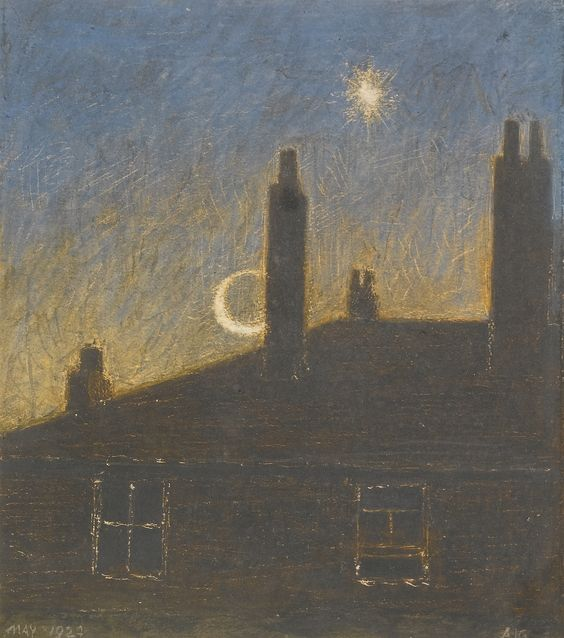 """Back of 13 Calthorpe Road, Moonlight"" by Arthur Joseph Gaskin, 1924"