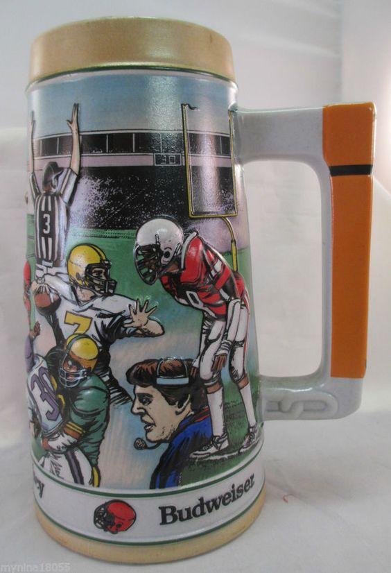 1990 Ceramarte Brazil Football Budweiser Sports Series Gridiron Legacy Stein