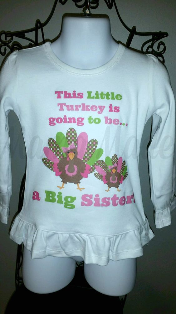 Big Sister Turkey Pregnancy Announcement Shirt by mamamadebows