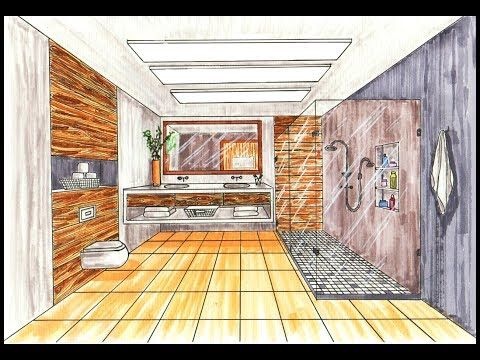 Drawing A Bathroom In One Point Perspective Timelapse Youtube One Point Perspective