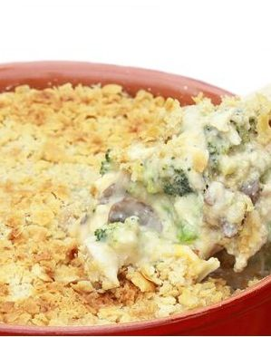 Chicken Broccoli Casserole - Recipe, Main Dish, Quick and Easy, Broccoli, Cream of Mushroom Soup, Crunchy Crust of Bread Crumbs and Cheese