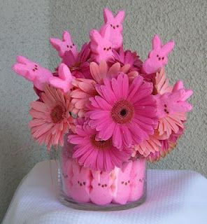 Easter centerpiece with peeps and flowers. I would use yellow but it's pretty in pink too.: