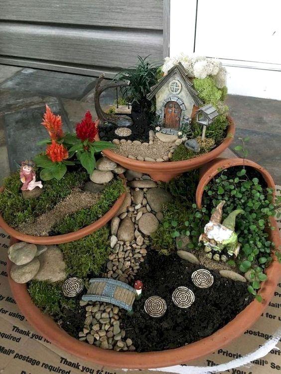 Fairy garden planters with multiple layers #gardenIdeas #garden #gardening #plants #homeDecor #indoor