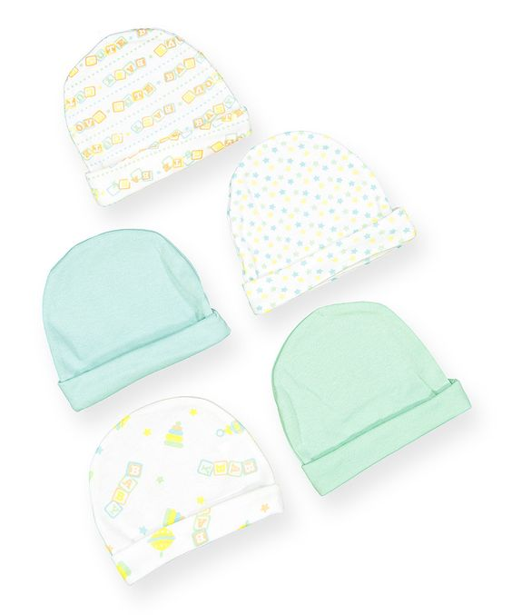 This Light Blue & Light Green Baby Five-Piece Beanie Set by Honey Baby is perfect! #zulilyfinds