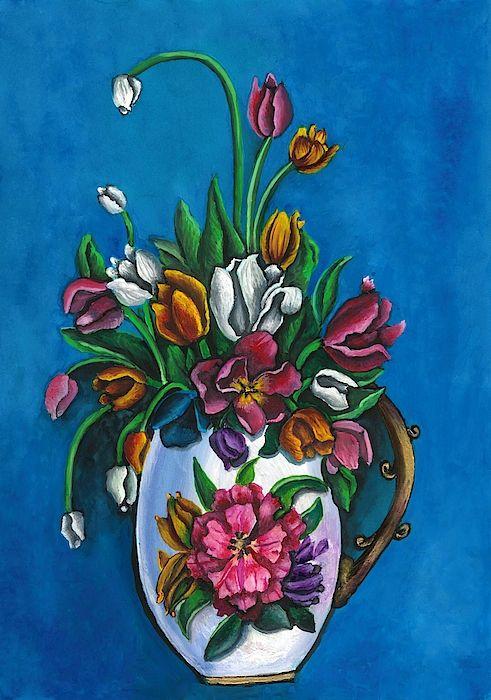 Vase Of Flowers Flower Vases Painting Watercolor Paintings