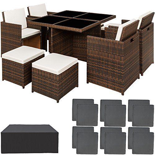 Tectake Ensemble Salon De Jardin En Aluminium Resine Tressee Poly Rotin Table Set 414 Housse De Protectio Rattan Gartenmobel Garten Essgruppe Gartenmobel Sets