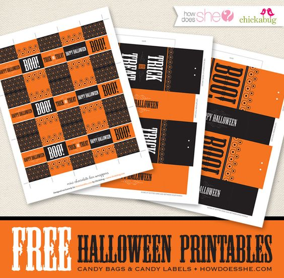 Free printable Halloween treat bags  candy wrappers Halloween