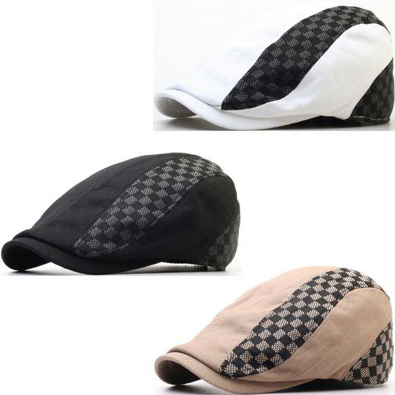 N129 Checkered Pattern Chess Tile Newsboy Driving Golf Flat Cap Gatsby Beret Hat