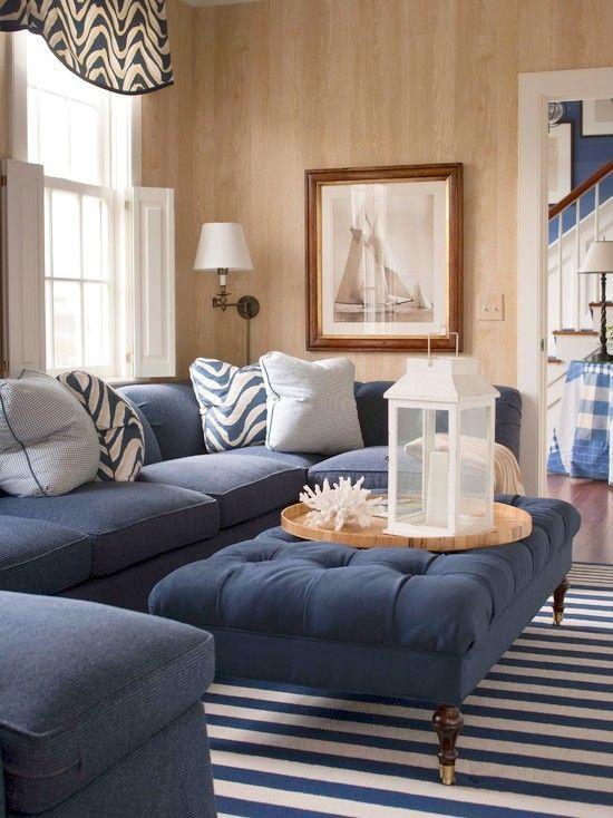 dark blue sofa living room diy storage shelves for navy coastal design pinterest designs and rooms