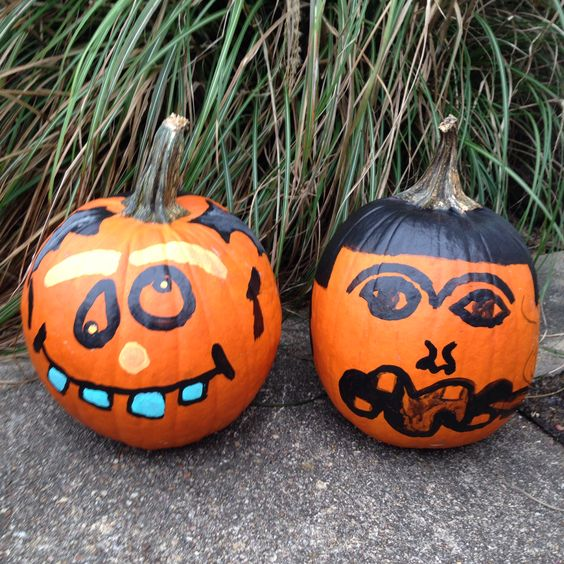 Our pumpkins this year #halloween #holiday #festive #paintedpumpkin #jackolantern #diy