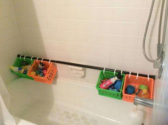 Use A Shower Curtain Rod Dollar Store Baskets Amp Shower
