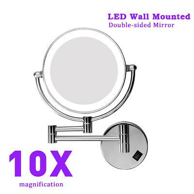 Advertisement 8 10x Magnifying Two Sided Led Lighted Wall Mount Swivel Makeup Mirror Chro Wall Mounted Makeup Mirror Makeup Mirror With Lights Makeup Mirror