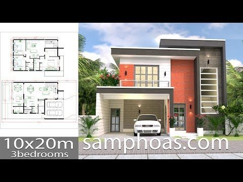 3d House Design Plans With 3 Bedrooms Plot 10x20m The House Has 2 Car Parking Small Garden Living Room 2 Dini Home Design Plans Home Design Plan House Design