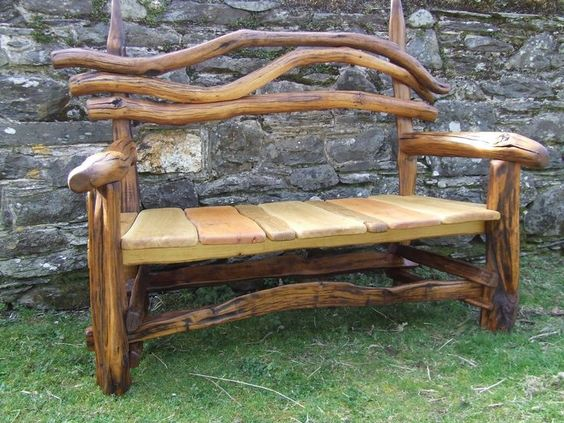 rustic bench for the front porch, must have a rocking chair to go with it.