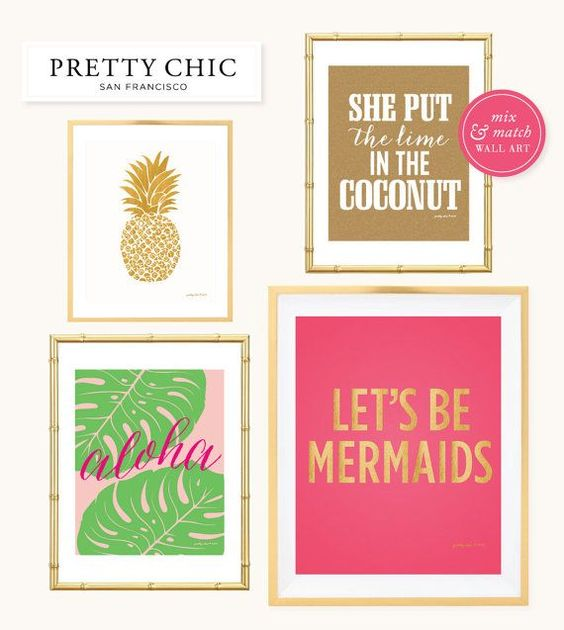 Gold Pineapple Print -- Art Print Tropical Island by prettychicsf