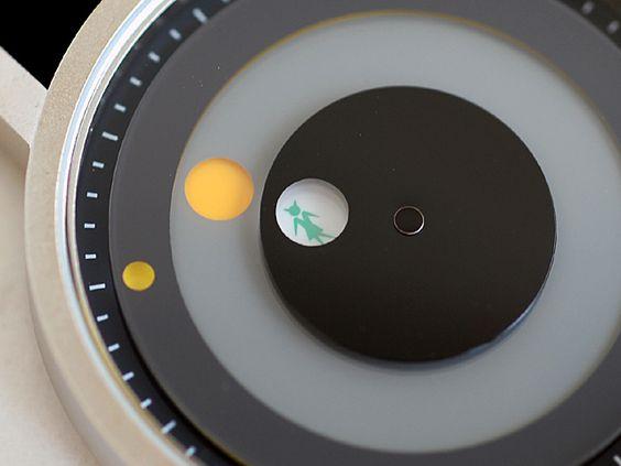 時はまるい:「NUTS COLLECTION」の「Op.16 happy science」。英のグラフィックデザイナーJames Spindlerの作品。時間、分、秒の針すべてを円盤針で表現。針ではなく円、時は指すのではなく、まるくめぐるもの、という視点が気に入って即買った。(けれどなくしてしまった。10年くらい前の話)
