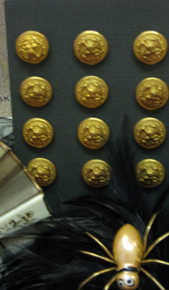 Button Lot Vintage Brass Bald Eagle Militay AMERICANA by MOJEART