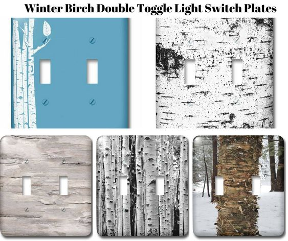 Winter Birch Double Toggle Light Switch Plates