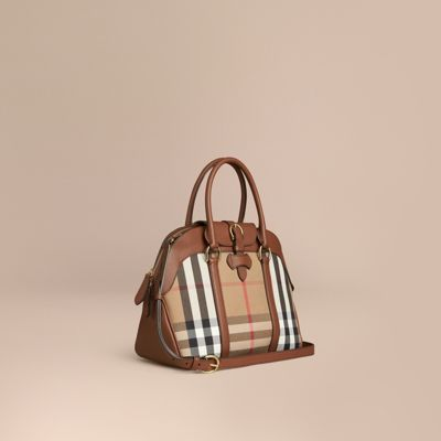 Medium House Check and Leather Bowling Bag | Burberry