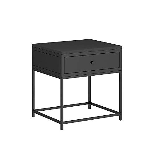 Haizhen Table Simple With Drawer Side Table Wrought Iron Frame Bedside Table Square Storage Table 454555cm Color Blac Table Storage Square Tables Side Table